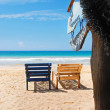 Stock Photo: Seview, wood chairs on beach