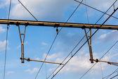железнодорожный catenary — Стоковое фото