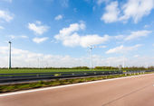 Road whit windmillpark — Stock Photo