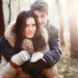 Sensual outdoor portrait of young couple in love - Stockfoto