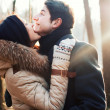 Sensual outdoor portrait of young couple in love — Stock Photo #23099284