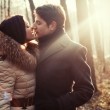 Sensual outdoor portrait of young couple in love — Stock Photo #23099286