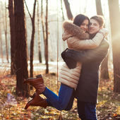 Sensual outdoor portrait of young couple in love — Photo