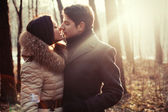 Sensual outdoor portrait of young couple in love — Foto Stock