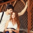Couple outdoor summer portrait. — Stock Photo