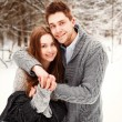 Winter portrait of happy couple. — Stock Photo