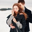 Young couple in cold weather — Foto Stock