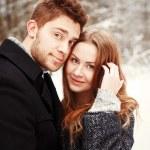 Winter portrait of couple in love — Stock Photo