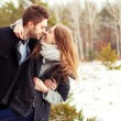 Couple in love in the cold spring forest — Stock Photo