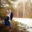 Couple in love in the cold spring forest — Stock Photo #23101992
