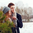 Couple in love in the cold spring forest — Stock Photo #23101994