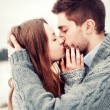 Young couple outdoor portrait. — Stock Photo