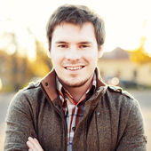 Handsome man outdoors portrait. — Stock Photo