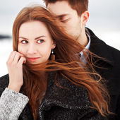 Young couple in cold weather — Foto de Stock