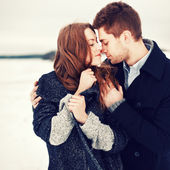 Winter portrait of couple in love — Stok fotoğraf