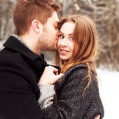 Winter portrait of couple in love — Stock Photo