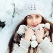 Girl  in the winter forest. — Stock Photo