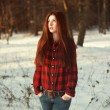Woman in the winter forest — Stock Photo