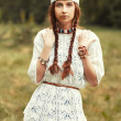 Hippie girl in the country — Stock Photo