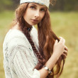 Hippie girl in the country - Stock Photo