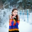 Beautiful brunette in winter park. Cold colors, snowy weather. — Stock Photo