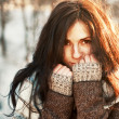Beautiful woman winter portrait. — Stok fotoğraf