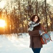 Girl in the winter park. — Stock Photo