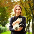 Beautiful woman with little cat — Stock Photo