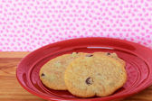 Cookies on a Red Plate 3 — Stock Photo