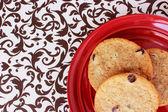 Cookies on a Red Plate 1 — Stock Photo