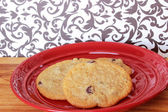 Cookies on a Red Plate 2 — Stock Photo