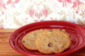Cookies on a Red Plate 4 — Stock Photo
