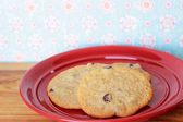 Cookies on a Red Plate 5 — Stock Photo