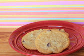Cookies on a Red Plate 7 — Stock Photo