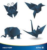 Origami animal set — Stock Vector