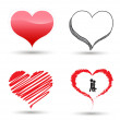 Drawing heart set for love concept — Stock Vector