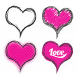 Stock Vector: Heart drawing collection pink colour