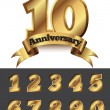 Decorative anniversary golden emblem — Stock Vector