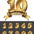 Decorative anniversary golden emblem — Vector de stock  #47185619