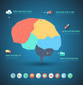 Abstract brain with flat icons — Stok Vektör