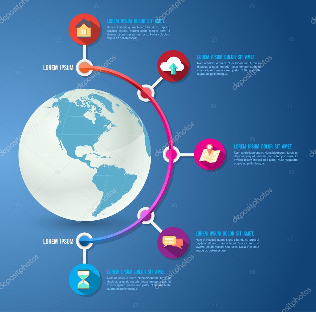 圆和世界地图模板 — 图库矢量图像08