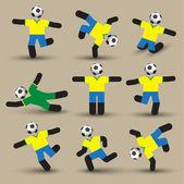Siluetas de los jugadores de fútbol. — Vector de stock