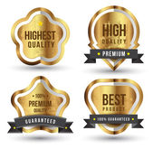 Gold badges set promotion guarantee — Vector de stock