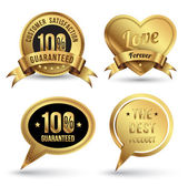 Gold badges set promotion guarantee — Stock vektor