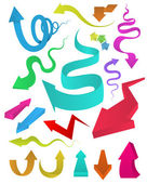Curved arrows multi colour set. Vector illustration, Can use for object printing and website. Kid funny style. — 图库矢量图片