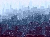 Abstrakte darstellung der schneebedeckten großstadt. — Stockvektor
