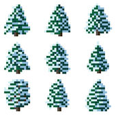 Set of pixel winter snowy tree. — Stock Vector
