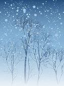 Illustration of snowfall in park. — Stock Vector