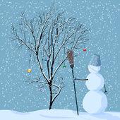 Illustration of lonely snowman near tree. — Stock Vector