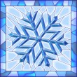 Snowflake stained glass window with frame. — Stock Vector #18415887